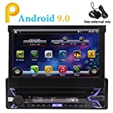 Android 9.0 Quad Core 1 Din Car Radio 7inch TFT Capacitive Touch Screen 1024 x 600p GPS Stereo Navigation System AM FM Radio 1GB 16GB Receiver RDS Bluetooth Steering Wheel Control WiFi USB SD CAM-in