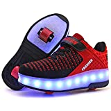 Ufatansy LED Shoes USB Charging Flashing Sneakers Light Up Roller Shoes Skates Sneakers with Wheels for Kids Girls Boys(1 M US =CN32, Double Wheel, Red)