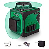 Wokeline Laser Level Self Leveling Green Beam Two Plane Cross Line Lasers 360° Vertical and 360° Horizontal 8 Lines Tile Ceiling Floor Wall Rotary Lazer Levels Tool+Flexible Magnetic Base+Battery
