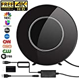 [Upgraded 2019] HD Digital TV Antenna Amplified 150 Miles Range Support 4K 1080P & All TV's Digital Antenna with Amplifier Signal Booster,17ft Coax Cable/USB Power Adapter