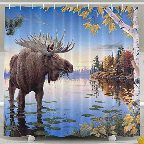 Water-Repellent Bath Curtain Painting Moose Shower Curtain 100% Polyester Fabric 36' X 72'