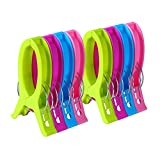 Ecrocy 8 Pack Jumbo Size Beach Towel Clips for Beach Chairs Or Lounge Chair - Keep Your Towel from Blowing Away,Clothes Lines - Jumbo Size 6.3 Inch