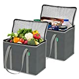 Insulated Grocery Shopping Bags (2 Pack-Gray), X-Large, Premium Quality Cooler Bag Set with Long Handles and Zipper Top. Reusable Tote for Warm or Cold Food, Freezer Items, Delivery