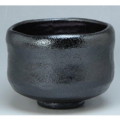 Kiyomizu-kyo yaki ware. Japanese Matcha chawan teabowl Kuro raku zuisho with paper box. Ceramic. kymz-TRK450
