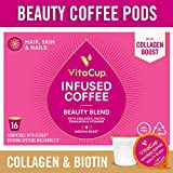 VitaCup Beauty Blend Coffee Pods 64ct with Collagen, Biotin, Cinnamon, Keto|Paleo|Whole30 Friendly, Essential Vitamins, Compatible with K-Cup Brewers Including Keurig 2.0, Top Rated Cups