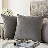 MIULEE Pack of 2 Velvet Soft Soild Decorative Square Throw Pillow Covers Set Cushion Case for Sofa Bedroom Car 16 x 16 Inch 40 x 40 cm Grey
