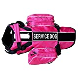 haoyueer Service Dog Backpack Harness Vest Removable Saddle Bags with Label Patches(Hot Pink,S)