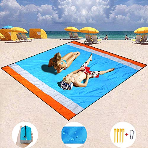 Hisung Sand Free Beach Mat, Quick Drying Portable Compact Lightweight Beach Mat - Water/Heat Resistant–Sand Proof Outdoor Beach Blanket for Travel, Camping, Hiking and Music Festivals (82''×79'')