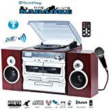 TechPlay Karaoke Enabled, 30W RMS, Retro Classic Turntable, NFC Bluetooth, Double Cassette Player/Recorder, CD MP3 Player, USB SD Ports, AM/FM Digital Alarm Clock and Full Remote Control