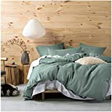 Eikei Washed Cotton Chambray Duvet Cover Solid Color Casual Modern Style Bedding Set Relaxed Soft Feel Natural Wrinkled Look (King, Pine)