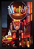 Illuminated Bar Signs on Beale Street Memphis Photo Black Wood Framed Art Poster 14x20