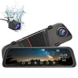 junsun Mirror Dash Cam Front and Rear, 10 Inch Touch Screen Front 1080P Rear View 1080P Dual Lens 170°Wide Angle with Backup Camera G-Sensor Parking Monitor Motion Detection