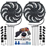 American Volt Dual Reversible 12V Electric Engine Radiator Cooling Fan & Adjustable Thermostat Switch Kit (11' Inch)