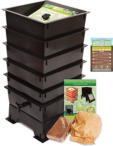 "Worm Factory DS5BT 5-Tray Worm Composting Bin + Bonus ""What Can Red Wigglers Eat?"" Infographic Refrigerator Magnet - Vermicomposting Container System - Live Worm Farm Starter Kit for Kids & Adults"