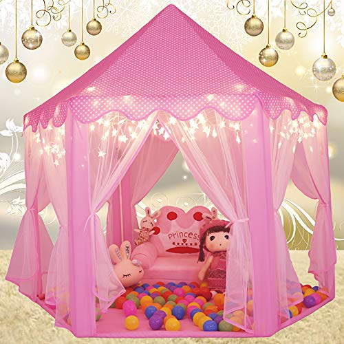 Sumerice Kids Play Tent Large Indoor & Outdoor Hexagon Princess Castle Tent Fairy Playhouse for Girls, Boys, Children (Pink)