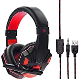 YJYdada USB Wired LED Gaming Headset Headband Headphone 3.5mm with Mic for PS4/XBOX/ONE (Without Light, red)