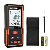 Laser Distance Measure, Meterk 196 Ft M/In/Ft Laser Distance Meters with Non Mute Function Large LCD Backlight Display Measure Distance,Area and Volume,Pythagorean Mode Battery Included