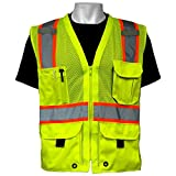 Global Glove GLO-079 - FrogWear HV - High-Visibility Mesh Polyester Surveyors Safety Vest - Small