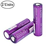 M&A BD 2-Pack with 1 Battery Organizer Purple 3500mAh 20A Rechargeable Flat Top Li-ion 3.7V Battery for Electric Tools, Toys, LED Flashlights, Torch, and Etc