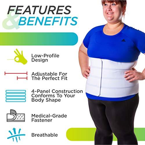 BraceAbility 4XL Plus Size Bariatric Abdominal Stomach Binder | Obesity Girdle Belt for Big Men & Women with a Large Belly, Post Surgery Tummy & Waist Compression Wrap 3