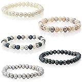 Gem Stone King Set Of 5 Multicolor Cultured Freshwater Pearl Stretch Bracelets 7.5'