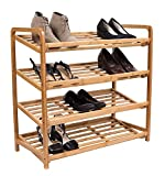 BirdRock Home 4 Tier Bamboo Shoe Rack | Home Storage Organization | Natural Durable Environmentally Friendly Organizer | Fits 9-12 Shoes