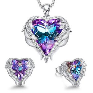 CDE Angel Wing Heart Necklaces and Earrings Valentine's Day Jewelry Gifts Embellished with Crystals from Swarovski 18K White Gold Plated Jewelry Set for Women