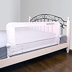 "KOOLDOO 43"" Fold Down Toddlers Safety Bed Rail Children Bed Guard with NBR Foam Include 1Pc Seat Belt (White)"
