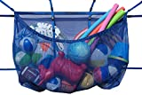 MESH TITAN Hanging Storage Bag, Blue - Adjustable, Versatile Organizer Bag for Pool, Fence, Deck, Garage, Gym - 60' Pouch Floats, Sports Balls, Inflatable rafts, Toys, Yoga More