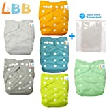 Baby Double Rows of Snaps 6pcs Pack Fitted Pocket Washable Adjustable Cloth Diaper(Netural Color)6BM98, AMGrey, One Size