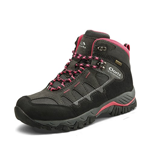 Clorts Women's Suede Leather Waterproof Hiking Boot Outdoor Backpacking Shoe HKM-823E US8.5 Dark Grey Pink