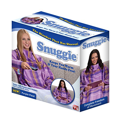 The Original Snuggie - Super Soft Fleece Blanket With Sleeves And Pockets - Purple Plaid 1