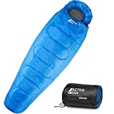 Active Era Mummy Sleeping Bag with Compression Sack for 3-4 Season - Lightweight, Water Resistant & Warm for Camping, Hiking, Fishing, Traveling and Outdoors