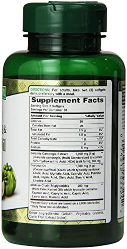 Nature's Bounty Garcinia Cambogia Pills and Coconut Oil Herbal Health Supplement, Hydroxy citric Acid, 60 Softgels 3