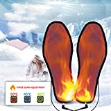 Heated Insoles Rechargeable, 8-12 Hours of Continuous Heating, Adapter and USB Charging, Winter for Women Men - Comfort Elastic for Outdoor Activties Washable, Three Temperature Controls, 34-46,40