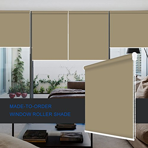ZY Blinds Blackout Roller Shades Custom Made Any Size from 20-78inch Wide UV Protection Enery Saving Block 100% Light Window Shades Blinds for Home, Hotel, Club, Restaurant 72' W x 48' L, Stone Color