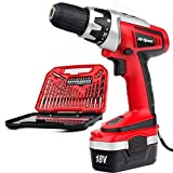 Hi-Spec 18V 1000mAh Battery Cordless Drill Driver with Speed Control, LED Light and Upto 18Nm of Torque. Includes 30 Piece Accessory Set of Drill & Driver Bits Laid in Compact Tray Case
