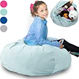 """Large Stuffed Animal Storage Bean Bag  """"Soft 'n Snuggly"""" Corduroy Fabric Kids Prefer Over Canvas - Replace Mesh Toy Hammock or Net - Store Blankets/Pillows Too - 4 Colors"""