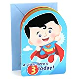 Hallmark 3rd Birthday Greeting Card for Boy (Superman, Batman, Iron Man, Green Lantern)