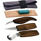 SIMILKY Wood carving tools knives for carving spoons bowls kuksa and cups -Tools Roll Leather Strop and Polishing Compound Hook Sloyd Detail Knife-Right-Handed