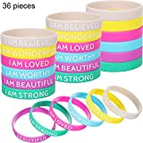 36 Pieces Silicone Inspirational Bands Motivational Bracelets Rubber Inspirational Wristbands with Inspirational Messages for Studying Competing Working