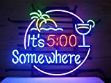 New It's 5 O'clock Somewhere Real Glass Neon Light Sign Home Beer Bar Pub Recreation Room Game Room Windows Garage Wall Sign V50 18x15 Inches