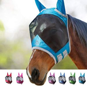 Harrison Howard CareMaster Pro Luminous Horse Fly Mask Standard with Ears UV Protection for Horse-Voodoo Blue