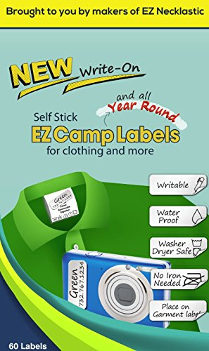 SELF-Stick Write-ON EZ Camp Labels for Clothing and All Personal Items - 60 No-Iron Kids Clothing Labels - Washer and Dryer Safe