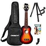 Sawtooth Basswood Soprano Ukulele, Sunburst, w/ChromaCast Accessories