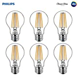 Philips LED Indoor/Outdoor A19 Clear Glass Dimmable Filament Light Bulb with Warm Glow Effect: 800-Lumen, 2700-2200 Kelvin, 8.5-Watt (60-Watt Equivalent), E26 Medium Base, Soft White, 6-Pack