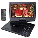 DBPOWER 9.5' Portable DVD Player with Swivel Screen, 5-Hour Built-in Rechargeable Battery, Support CD/DVD/SD Card/USB, with Car Charger and Power Adaptor (Black)