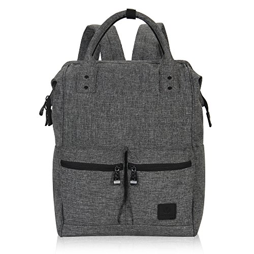 Veegul Stylish Doctor Style Multipurpose Travel Backpack Everyday Backpack for Men Women Dual Pockets Grey Polyester