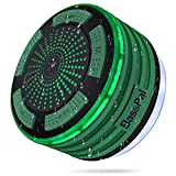 BassPal Shower Speaker, IPX7 Waterproof Portable Wireless Bluetooth Speaker with Radio, Suction Cup and Led Mood Lights, Super Bass HD Sound Pool, Bathroom, Beach, Boat&Outdoors