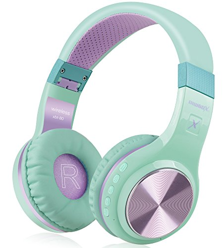 Bluetooth Headphones, Riwbox XBT-80 Folding Stereo Wireless Bluetooth Headphones Over Ear with Microphone and Volume Control, Wireless and Wired Headset for PC/Cell Phones/TV/Ipad (Purple Green)